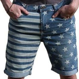 Carbon jean shorts bermuda shorts stars & stripes